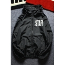 Simple Letter Printed Long Sleeve Hooded Zip Up Street Style Sun Coat for Couple