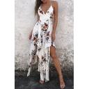 Boho Floral Printed Spaghetti Straps Holiday Beach Asymmetrical Slip Dress