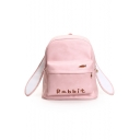 Summer's Basic Simple Letter Embroidered Casual Leisure School Backpack