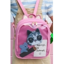 New Stylish Cartoon Cat Letter Printed Simple Leisure Backpack