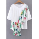 Floral Printed Asymmetrical Ruffle Hem Round Neck Casual Loose Pullover Blouse