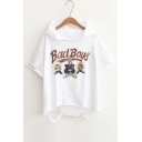 Hooded Short Sleeve Hollow Out Bad Boys Graphic Printed Tee