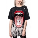 Hot Fashion 3D Red Lip Printed Short Sleeve Round Neck Loose T-Shirt