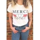 Street Style Letter Printed Round Neck Short Sleeve Casual Leisure T-Shirt