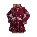 New Arrival Round Neck Long Sleeve Flared Cuff Floral Printed Layered Mini Swing Dress