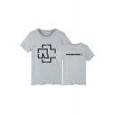 Basic Simple Letter Pattern Round Neck Short Sleeve Comfort Cotton T-Shirt