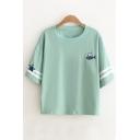 Summer's Cartoon Fish Cat Pattern Round Neck Half Sleeve Loose T-Shirt