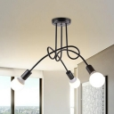 Industrial Semi Flush Mount Ceiling Light in Black, 3 Lights