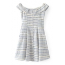Classic Striped Printed Boat Neck Sleeveless Buttons Down Mini A-Line Dress