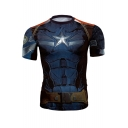 New Arrival Fashion 3D Pattern Round Neck Short Sleeve Sports T-Shirt
