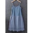 Summer's Fresh Plain Spaghetti Straps Hollow Out Hem Cotton Slip Dress