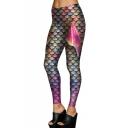 New Arrival Fashion Fish Scale Printed Elastic Waist Skinny Comfort Leggings