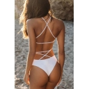 New Arrival Fashion Crisscross Open Back Spaghetti Straps Plain One Piece Swimwear