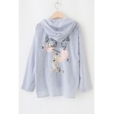 Striped Cartoon Letter Printed Hooded Long Sleeve Buttons Down Sun Coat