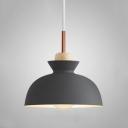 Bowl Shade Pendant Light Minimal Wooden 10''