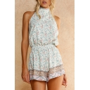 Hot Fashion Halter Neck Sleeveless Floral Printed Casual Holiday Rompers
