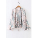 Floral Printed Long Sleeve Flare Cuff Knotted Casual Kimono Top