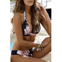 Hot Fashion Retro Floral Printed Halter Neck Beach Bikini Swimwear