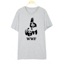 Funny Fighting Panda Printed Short Sleeve Round Neck Graphic Tee