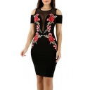 Hot Fashion Floral Embroidered Round Neck Short Sleeve Cold Shoulder Midi Pencil Dress