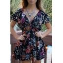 Retro Floral Printed Plunge Neck Short Sleeve Cut Out Waist Mini A-Line Dress