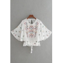 Round Neck Half Sleeve Chic Floral Embroidered Tassel Embellished Blouse