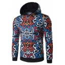 New Arrival Stylish Geometric Printed Long Sleeve Comfort Hoodie