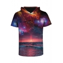 Unisex Hooded Short Sleeve Galaxy 3D Printed Color Block Tee