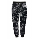 Sketch Cartoon Printed Drawstring Waist Casual Sports Pants