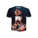New Arrival 3D Boxing Men Printed Round Neck Short Sleeve Pullover T-Shirt