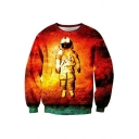 Hot Fashion 3D Space Astronaut Pattern Long Sleeve Round Neck Sweatshirt