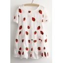 Summer's Strawberry Printed Round Neck Short Sleeve Mini Casual Smock Dress
