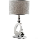Contemporary Table Lamp with Drum Fabric Shade Silver Ball Accent