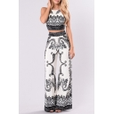 New Fashion Tribal Printed Sleeveless Cropped Top with Wide Legs Pants