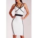 New Fashion Color Block Spaghetti Straps Lady's Midi Pencil Slip Dress