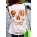 New Fashion Cutout Skull Pattern Sleeveless Plain Tank