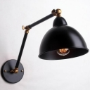 Industrial Dome Wall Lamp Swing Arm in Black