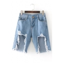 New Stylish Cutout Ripped Broken High Waist Denim Shorts