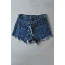 New Stylish High Waist Plain Fringe Hem Single Breasted Skort Denim Shorts