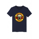 New Arrival Letter Printed Round Neck Short Sleeve Casual Cotton Graphic Tee