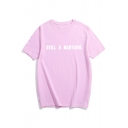 Basic Simple Letter Printed Round Neck Short Sleeve Loose Leisure T-Shirt