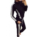 New Fashion Letter Printed Long Sleeve Zip Up Coat with Sports Loose Pants