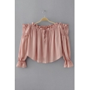 New Fashion Off The Shoulder Long Sleeve Plain Cropped Pullover Blouse