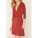 Wrap Plunge Neck 3/4 Sleeve Tie Waist Chic Plain Mini A-Line Dress