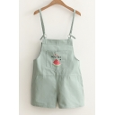 Letter Watermelon Embroidered Straps Hot Fashion Overalls with Pockets