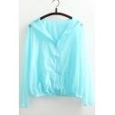 Summer's Hooded Long Sleeve Simple Plain Zip Placket Sun Protection Coat