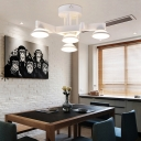Acrylic Ceiling Lights Contemporary Industrial White/Black, 4 Lights