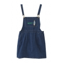 Cartoon Cat Embroidered Casual Leisure Mini Denim Overall Dress with Pockets