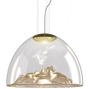 Glass Pendant Light Mountain Golden Blown 21.65''