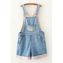 Embroidery Pattern Plaid Sleeveless Denim Wide Leg Overalls